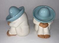 Homco Siesta Sleeping Man Mexican Sombrero Ceramic Figurine Southwest Decor Pair