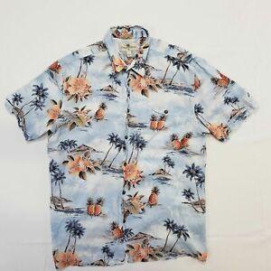 Island Shore Light Blue Hawaiian Shirt Men's L