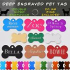 Pet ID Name Tag Tags Deep Engraved Dog Cat Bone Customised and Personalised <br/> Double Sided Traditional Deep Engraved & Free Postage