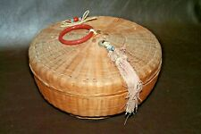 "Antique Chinese Style Hand Woven 11"" Lidded Sewing Basket w/ Tassel & Bead Decor"