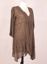 THE MASAI CLOTHING Womens Spotted Black Beige Dress Tunic Top 34 Sleeve Sheer M