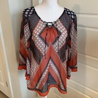 Anthropologie Fig and Flower Navy Red Sheer Boho Tunic Top Blouse Large