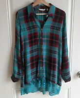 Soft Surroundings Womens Blue Red Plaid Lace Hem Adeline Tunic Top Shirt Size XS