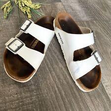 Birkenstock Arizona Sandal SZ 39 Eu 8.5 Usa White Leather Big Buckle Slide Flats