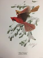 """Guy Coheleach WINTER CARDINALS Signed Art Print Lithograph 16"""" x 20"""" Plate I"""