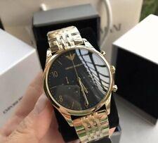 •• Emporio Armani Ar1893 Herrenuhr Armband Chrono Edelstahl Gold Schwarz Neu •••