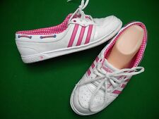 LADIES ADIDAS HOT PINK / WHITE LACE UP  FLAT SHOES  SIZE 8.5