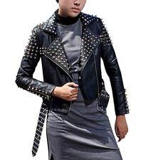 Spikes Multi Zip Belt Slim Punk Rock Leather Jacket Women Brando Biker Studded