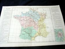 OLD MAP: Th. LEBRUN & A. LE BEALLE~ca 1860~FRANCE ITINERAIRE~FRANCE ITINERARY
