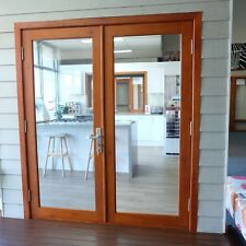 RED CEDAR TIMBER FRENCH DOORS, 1800W x 2100H, STAINED,OILED, HARDWARE, IN STOCK