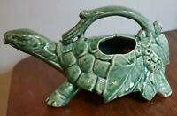Vintage McCoy Green Turtle Pottery Watering Can Sprinkler Pitcher Planter