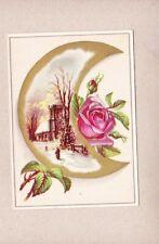 Victorian Scrap Trade Card Crescent Moon Pink Roses Winter Church Scene NOS