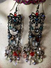 bijou ancien Boucle D Oreille Savoyarde Vintage Papillon Perle Cristal En Bout