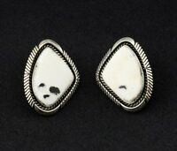 Navajo Eugene Belone Sterling Silver White Buffalo Turquoise Earrings