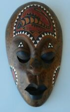 Wall Mask African Hand Carved Tribal Mother of Pearl Inlay