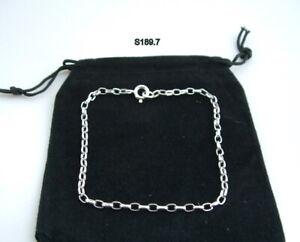 New 925 Sterling Silver Oval Belcher Bracelet 19cm wrist chain 7.5ins gift bag