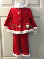 NEW FIRST IMPRESSIONS Size 12 Months Infant Girls 2PCS Jacket Pants Set Xmas