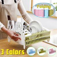 New Folding Kitchen Drain Rack Dish Holder Cutlery Storage Box Drainer
