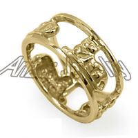 14k Solid Yellow Gold Siamese Cat Ring #R2034