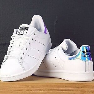 RARE WOMEN'S ADIDAS STAN SMITH SHOES SNEAKERS W/ IRIDESCENT HOLOGRAPHIC BACK 7.5