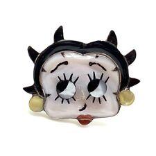 Zuni Handmade Sterling Silver Multi-Stone Inlay Betty Boop Ring - Don Dewa