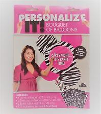 BALLOON BOUQUET ZEBRA PRINT PINK FOIL PARTY DECORATION HENS NIGHT BIRTHDAY GIRLS