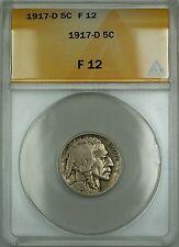 1917-D Buffalo Nickel 5c Coin ANACS F-12