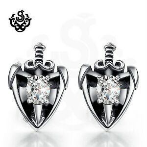 Silver stud made with clear swarovski crystal earrings sword shield soft gothic