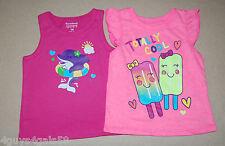 Toddler Girls Summer Shirts DARK PINK DOLPHIN Pink Totally Cool Ice Cream 18 Mo