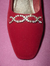 """Red Velvet Pump with Rhinestone Accents """"Clare"""" by Annie 5M"""