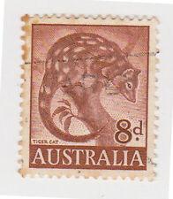 (W1376) 1959 AU 8d brown tiger cat (E)
