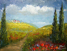 GENUINE MAZZ TUSCANY Oil Painting. Gold Ornate Frame, Palette knife art,11 x 14