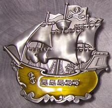Pewter Belt Buckle novelty Pirate Ship NEW