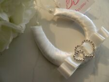 WEDDING BRIDAL GOOD LUCK CHARM - DIAMANTE  DOUBLE HEARTS-  IVORY SATIN