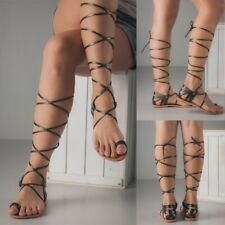 Summer Women's Roma Gladiator Sandals Open Toe Casual Lace Up Strappy Shoes