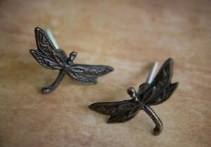 Antique Bronze Iron Dragonfly Cabinet Knob Metal Animal Drawer Pull Door Handle