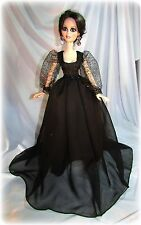 """**OOAK**  BLACK CHIFFON with GOLD ~ For 18"""" EVANGELINE GHASTLY by Judy"""