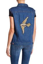Ashley Mason Womens Denim Vest Distressed Biker Jean Moto Bird Embroidered Sz XL