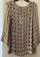 NWT Chicos Travelers Basket Shine Sweater Top Sz 0 (4-6) Mocha Glitter Boat Neck