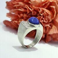 14k White Gold Vintage Star Sapphire & Diamond Ring Size 5.5