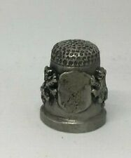 Collectable PEWTER Thimble  2 RAMPANT LIONS HOLDING (BLANK) SHIELD BASE  (AA121)