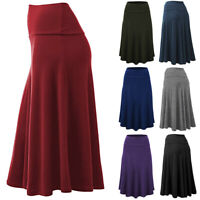 Women High Waist Pleated A Line Long Skirt Party Uniform Uniform Midi Skirt Plus