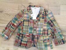 J. Crew Crewcuts Boy's Madras Patchwork Blazer/Jacket NWT Size 4-5 Medium Cotton