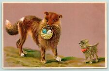 Dogs~Collie Dog Carries Goodie Basket~Little Norwich Terrier~Embossed~1910 Pc