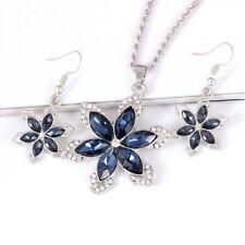 New Listingwomen Fashion Flower Necklace Drop Earrings Jewelry Set Crystal Party Jewelryampgf