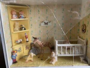 dollhouse miniatures lot 1:12,  Room Box , Furnished Nursery  Vintage, Flaw