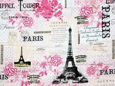 """FABRIC PARIS EIFFEL TOWER FRANCE 100% COTTON DAVID TEXTILES QUILTING 29"""" REMNANT"""