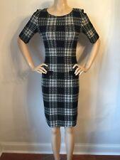 NWT St John knit dress size 2 black & cream check