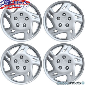 """4 NEW OEM SILVER 14"""" HUBCAPS FITS HONDA SUV CAR ABS JDM CENTER WHEEL COVER SET"""