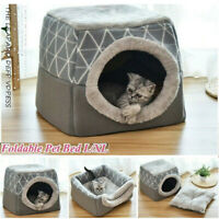 US Warm Soft Foldable Pet Dog Cat House Tent Cave Removable Puppy Bed Kennel Pad